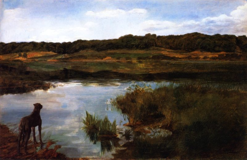 Great Dane on Wessling Lake   Wilhelm Trubner   oil painting