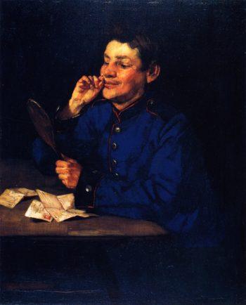 Gunner with Hand Mirror | Wilhelm Trubner | oil painting