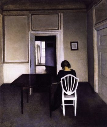 Interior with Ida in a White Chair   Vilhelm Hammershoi   oil painting