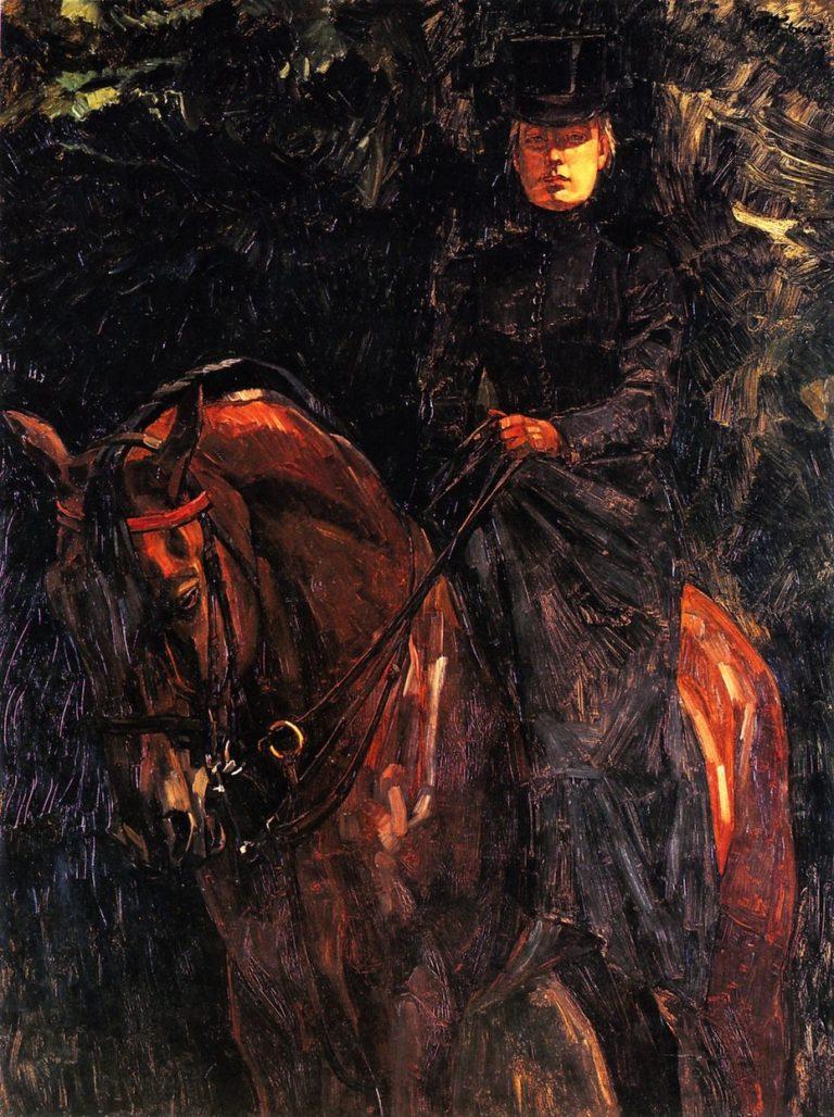 Ida Gorz on Horseback   Wilhelm Trubner   oil painting