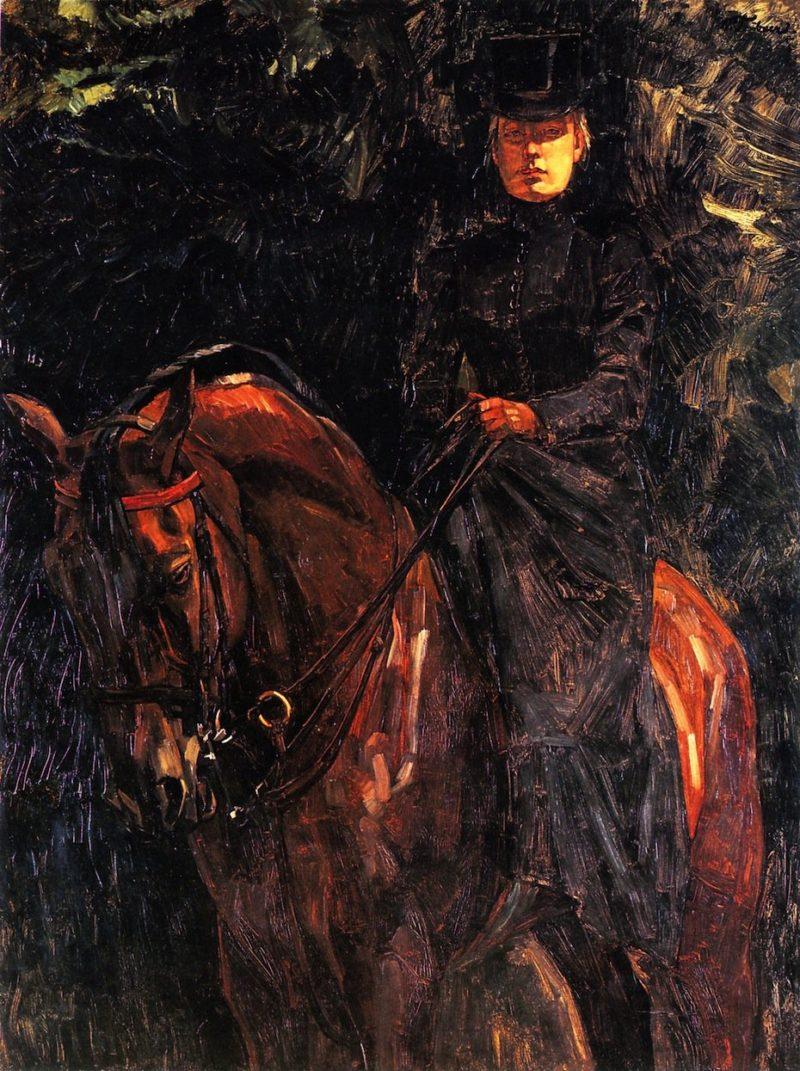 Ida Gorz on Horseback | Wilhelm Trubner | oil painting