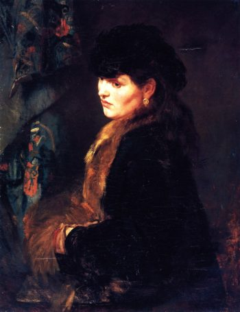 Lady in front of a Tapestry | Wilhelm Trubner | oil painting