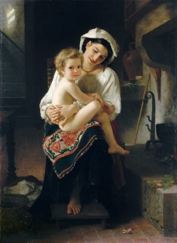 Young Mother Gazing at Her Child | William Bouguereau | oil painting