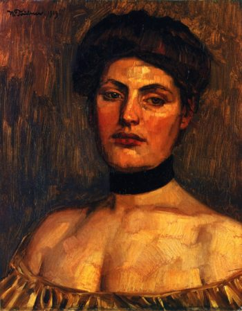 Lady with Black Collar | Wilhelm Trubner | oil painting