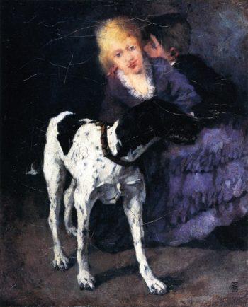 Liebespaar mit Hund | Wilhelm Trubner | oil painting