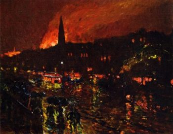 The Alarm Firelight Boston | Frederick Childe Hassam | oil painting