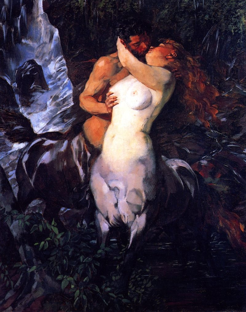 Pair of Centaurs at a Waterfall | Wilhelm Trubner | oil painting