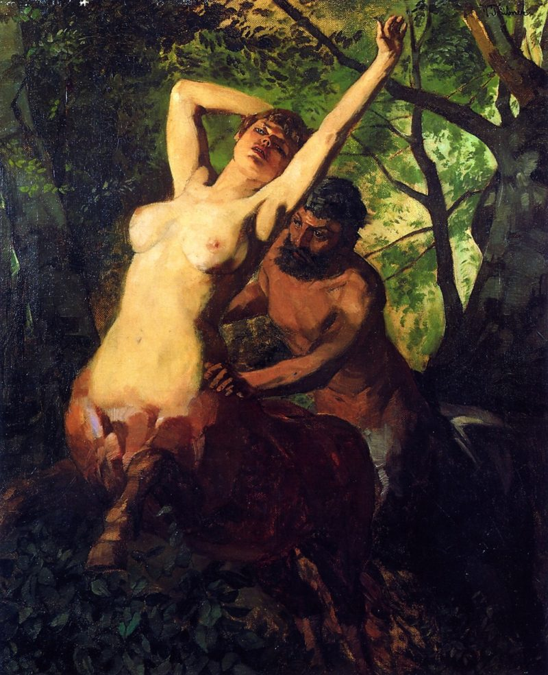 Pair of Centaurs in the Woods | Wilhelm Trubner | oil painting