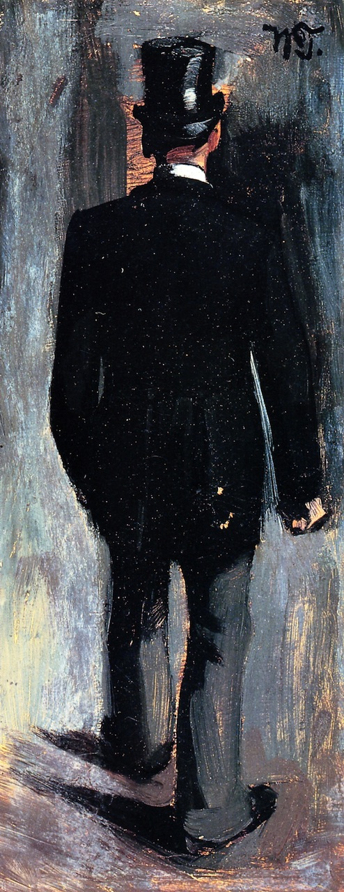 Rear View of a Male Figure with Top Hat   Wilhelm Trubner   oil painting