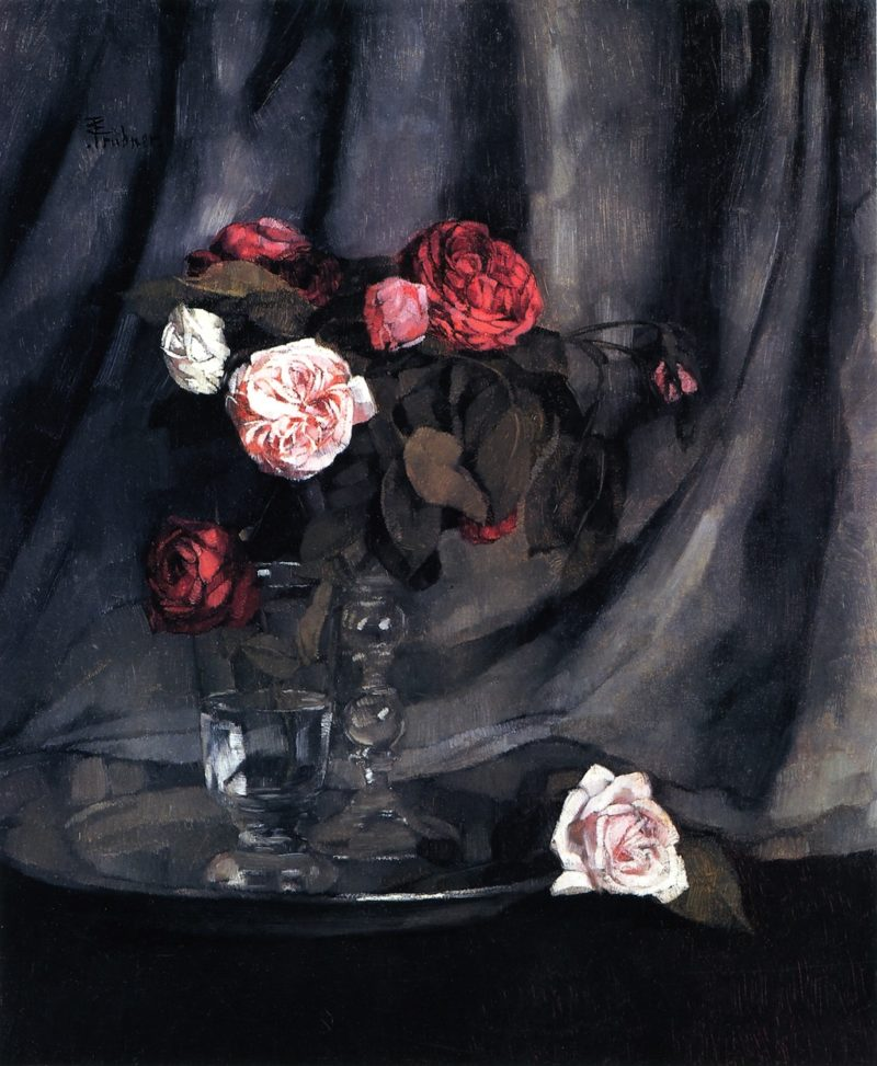 Red and White Roses   Wilhelm Trubner   oil painting