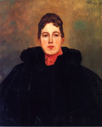 Portrait of a Woman with a Red Kerchief Wilhelm Trubner
