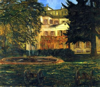 Schloss Hemsbach with Fountain and Cannon | Wilhelm Trubner | oil painting