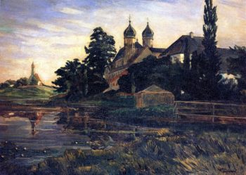 Seeon Monastery with Boat House | Wilhelm Trubner | oil painting