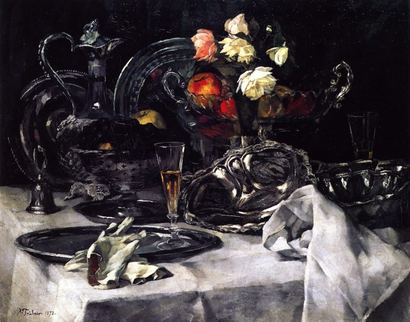 Silver and Roses   Wilhelm Trubner   oil painting