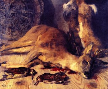 Still Life with Deer Hare and Woodcock   Wilhelm Trubner   oil painting