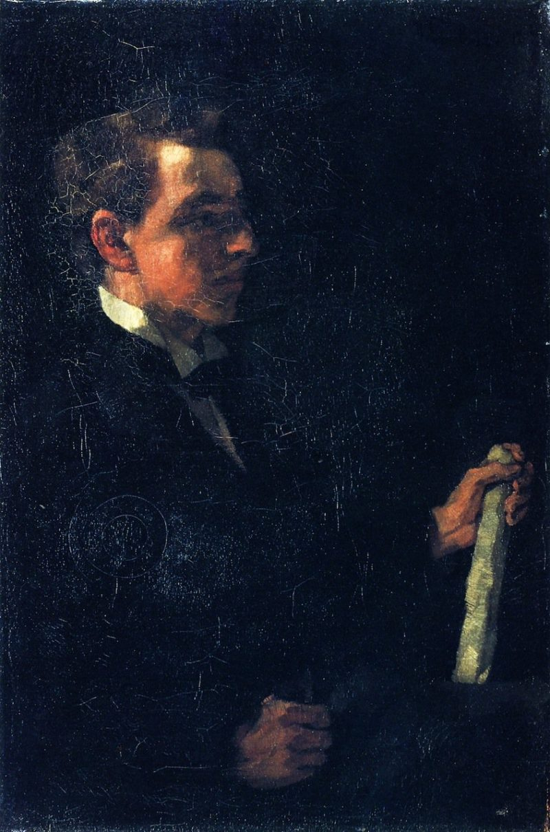 Student Michaelis with Paper Roll   Wilhelm Trubner   oil painting