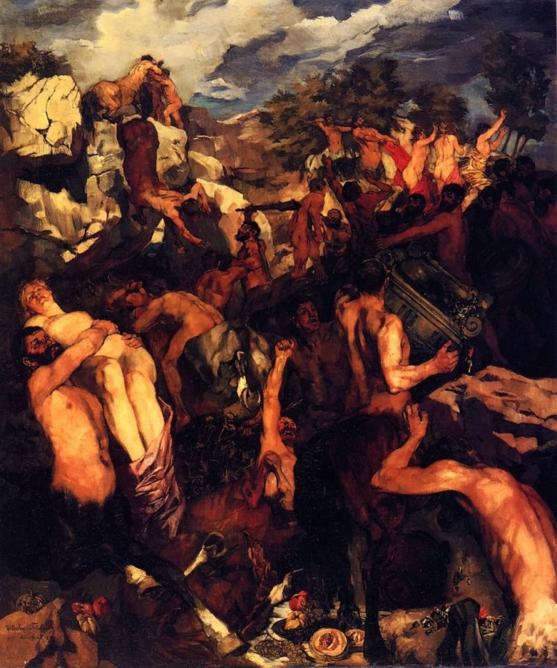 The Battle of the Lapiths and Centaurs   Wilhelm Trubner   oil painting