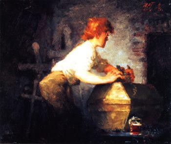 The Coffin Maker   Wilhelm Trubner   oil painting