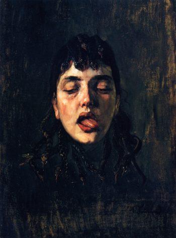 The Gorgon   Wilhelm Trubner   oil painting