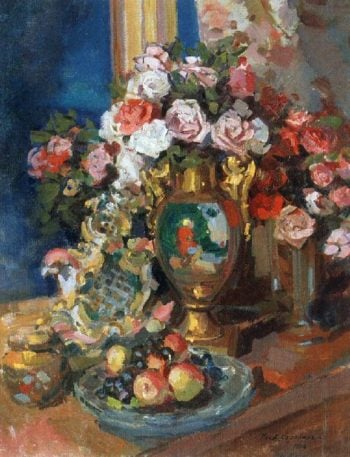 Still Life with Roses | Constantin Alexeevich Korovin | oil painting
