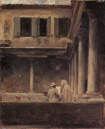 An Artist Sketching in the Cloister of S Gregorio Venice | Sir Frederick Lord Leighton | oil painting