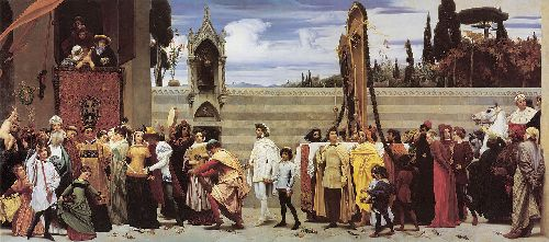 Cimabues Celebrated Madonna is Carried in Procession Through the Streets of Florence | Sir Frederick Lord Leighton | oil painting