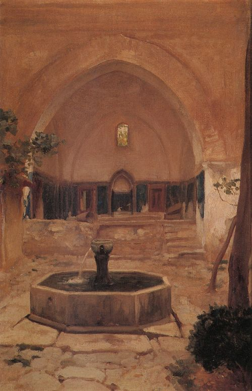 Courtyard of a Mosque at Broussa | Sir Frederick Lord Leighton | oil painting