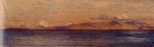 Distant View of Mountains in the Aegean Sea | Sir Frederick Lord Leighton | oil painting