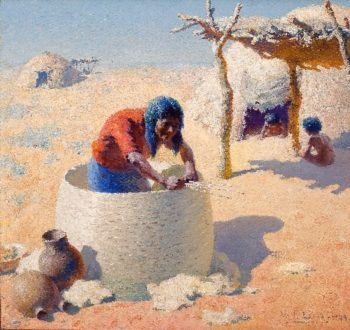 Papago weaving grain basket | William Robinson Leigh | oil painting