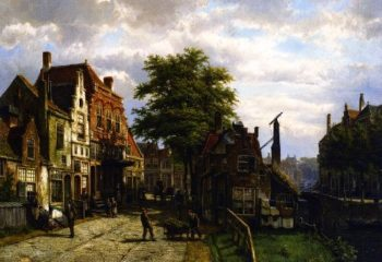 Figures in a Dutch Town on a Sunny Day | Willam Koekkoek | oil painting