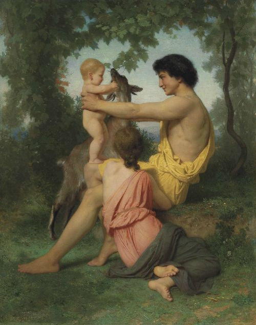 Idylle famille antique   William Bouguereau   oil painting