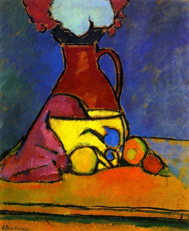 Brown Jug with Fruit   Alexei Jawlensky   oil painting