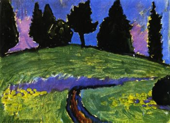 Dark Trees over Green Slope | Alexei Jawlensky | oil painting