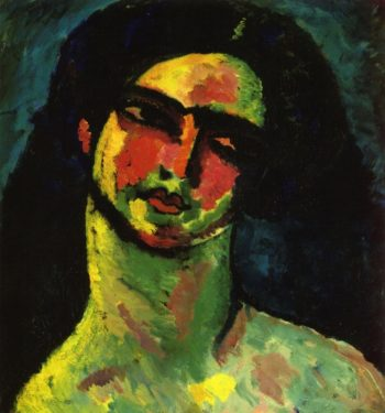 Head of An Italian Woman witih Black Hair from the Front | Alexei Jawlensky | oil painting