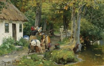 Washing Day | Peder Mork Monsted | oil painting