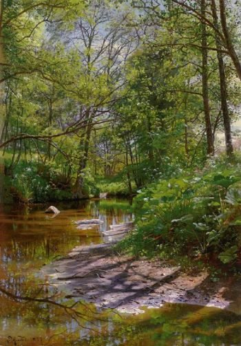 A river landscape | Peder Mork Monsted | oil painting