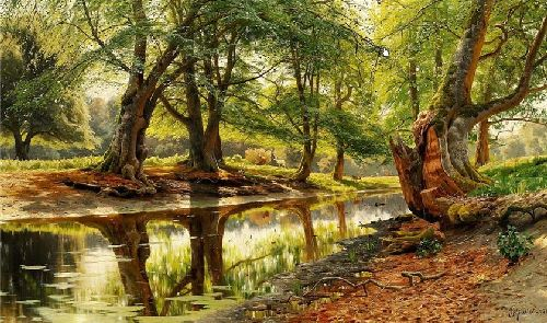 A stream in Dyrehaven | Peder Mork Monsted | oil painting