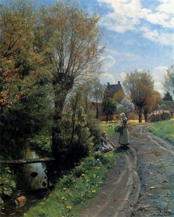 By The River Brondbyvester | Peder Mork Monsted | oil painting