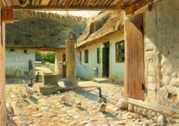 Geese on the cobblestones in the courtyard on a summer | Peder Mork Monsted | oil painting