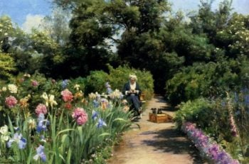 Knitting in the Garden | Peder Mork Monsted | oil painting