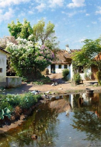Spring day at a thatched house with blooming lilacs | Peder Mork Monsted | oil painting