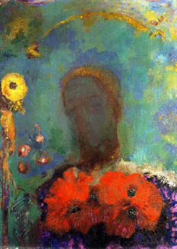 Girl with Poppies | Odilon Redon | oil painting