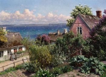 Summer day in Aalsgaarde | Peder Mork Monsted | oil painting