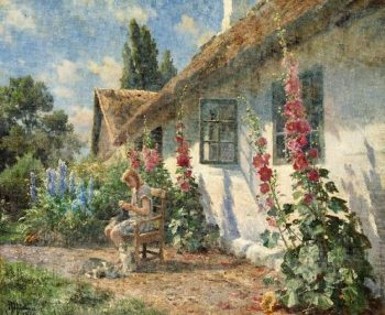 Summer day in the garden with a girl knitting | Peder Mork Monsted | oil painting