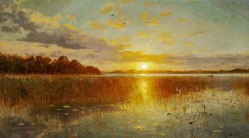 Sunset over a Danish fjord | Peder Mork Monsted | oil painting