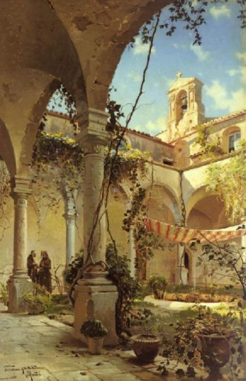 The Cloister Taormina | Peder Mork Monsted | oil painting