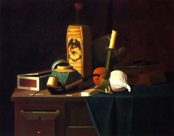 Bottle Candlestick and Oranges | John Frederick Peto | oil painting