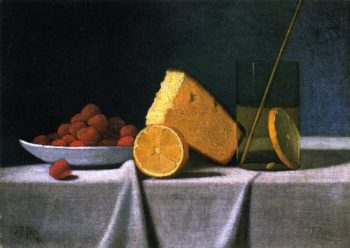 Cake Lemon Strawberries and Glass | John Frederick Peto | oil painting