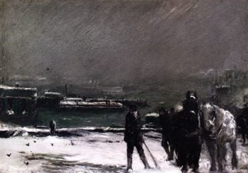 Docks in Winter | George Wesley Bellows | oil painting