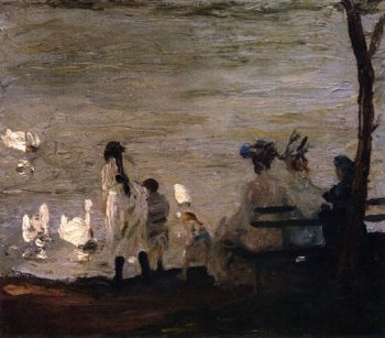 Swans in Central Park | George Wesley Bellows | oil painting